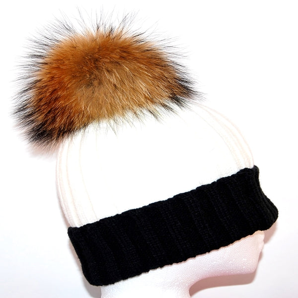 Black&Cream Raccoon Fur Bobble Hat - Poshpoms
