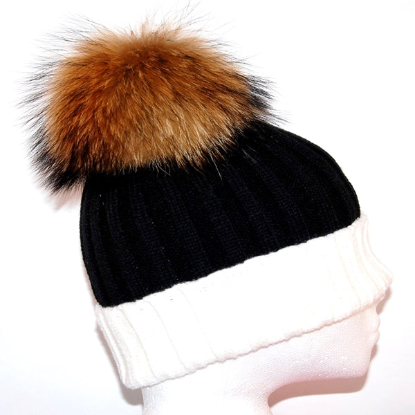 White&Black Raccoon Fur Bobble Hat - Poshpoms