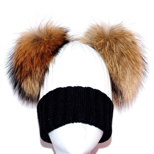 Black&White Double Pom Raccoon Fur Bobble Hat - Poshpoms