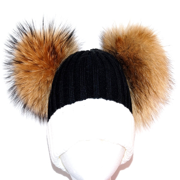 Cream&Black Double Pom Raccoon Fur Bobble Hat - Poshpoms