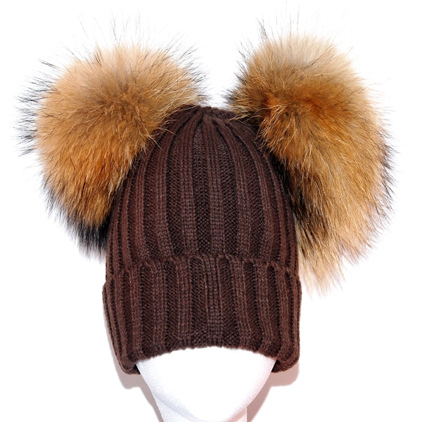 Brown Double Pom Raccoon Fur Bobble Hat - Poshpoms