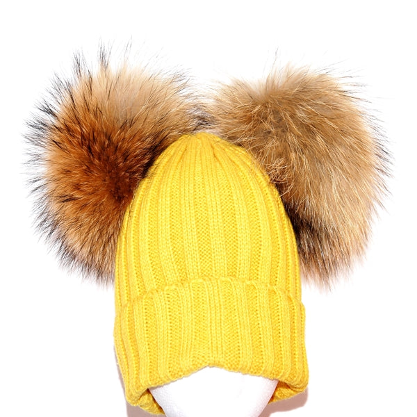 Yellow Double Pom Raccoon Fur Bobble Hat - Poshpoms