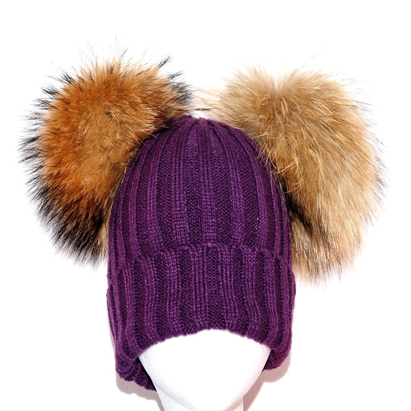 Purple Double Pom Raccoon Fur Bobble Hat - Poshpoms