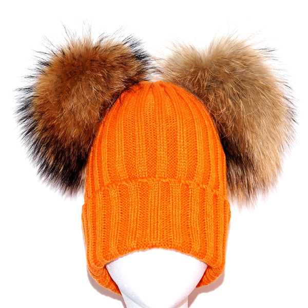 Orange Double Pom Raccoon Fur Bobble Hat - Poshpoms