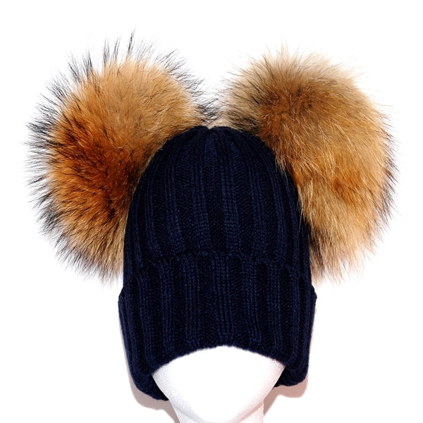 Navy Double Pom Raccoon Fur Bobble Hat - Poshpoms