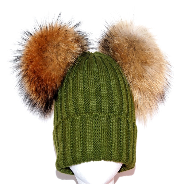Khaki Double Pom Raccoon Fur Bobble Hat - Poshpoms