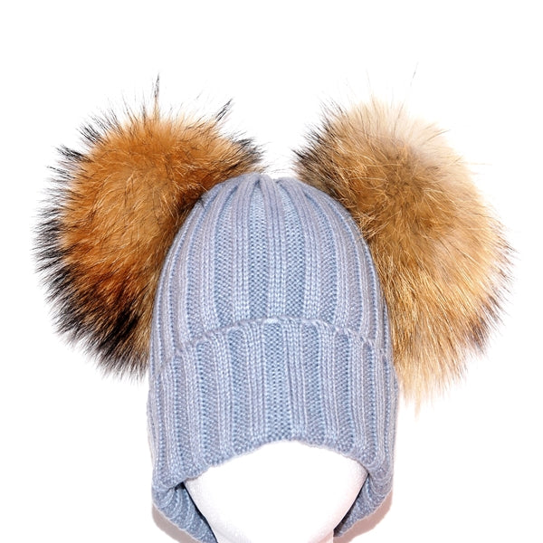 Light Grey Double Pom Raccoon Fur Bobble Hat - Poshpoms