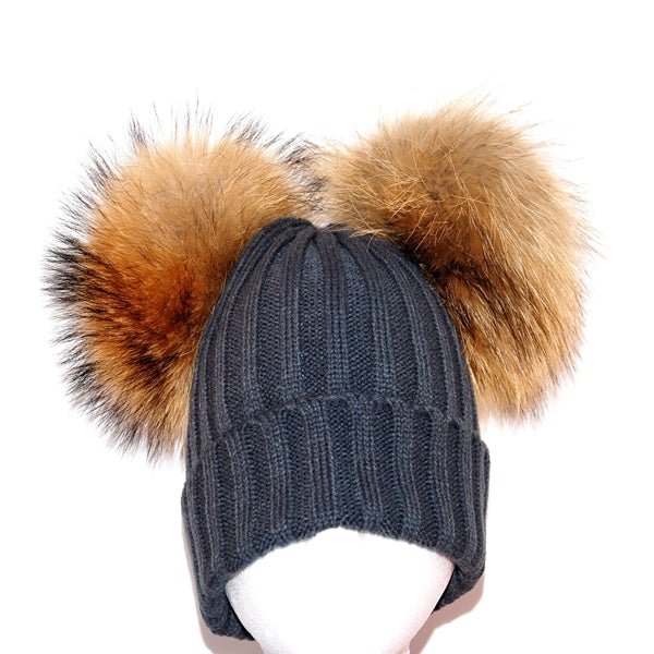 Dark Grey Double Pom Raccoon Fur Bobble Hat - Poshpoms