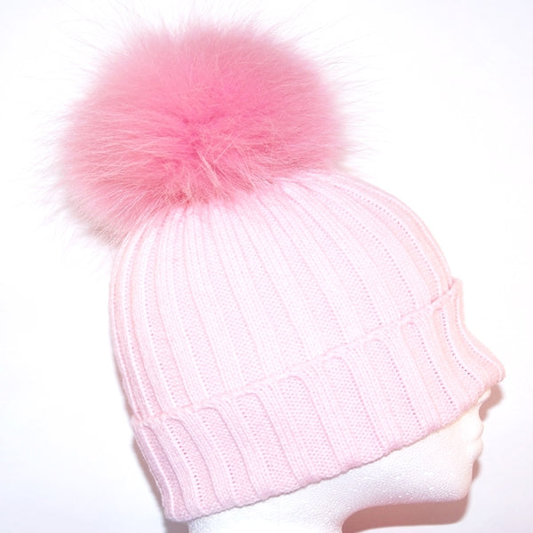 Baby Pink Raccoon Fur Bobble Hat - Matching Pom Pom - Poshpoms