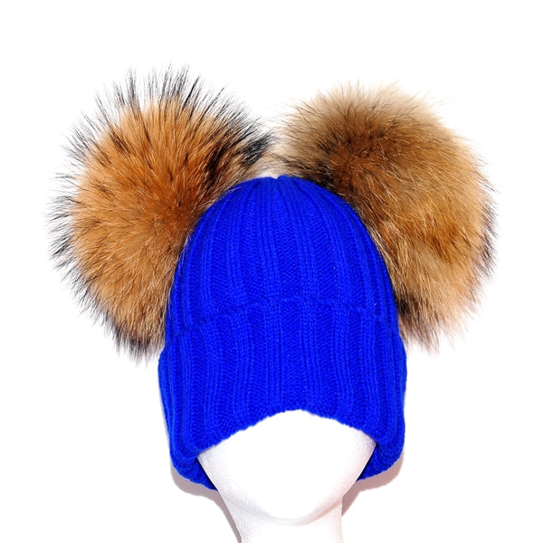 Electric Blue Double Pom Raccoon Fur Bobble Hat - Poshpoms