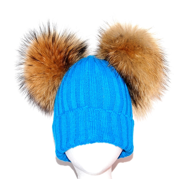 Blue Double Pom Raccoon Fur Bobble Hat - Poshpoms