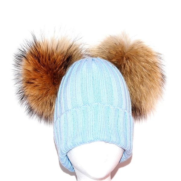 Light Blue Double Pom Raccoon Fur Bobble Hat - Poshpoms