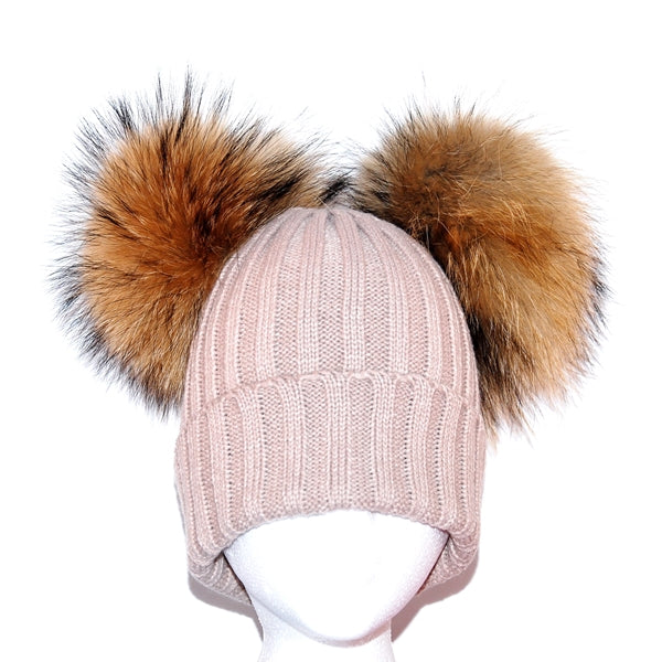 Beige Double Pom Raccoon Fur Bobble Hat - Poshpoms