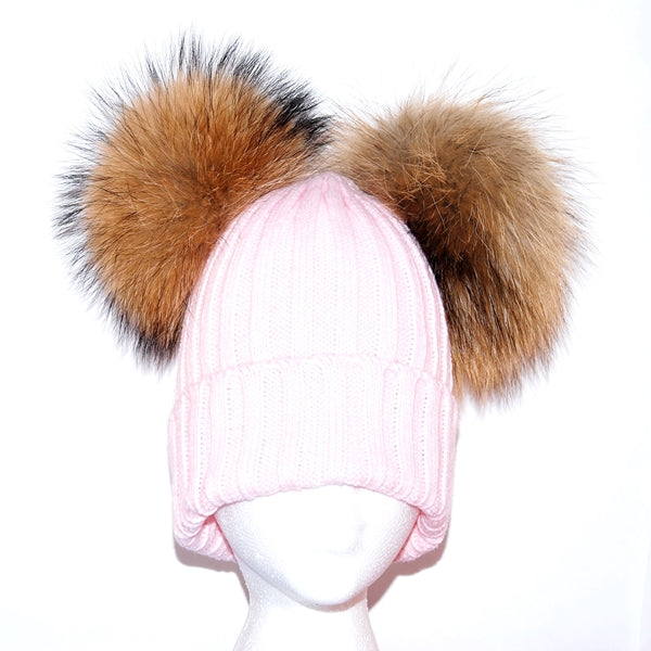 Baby Pink Double Pom Raccoon Fur Bobble Hat - Poshpoms