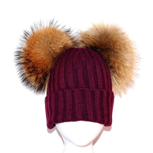 Plum Double Pom Raccoon Fur Bobble Hat - Poshpoms