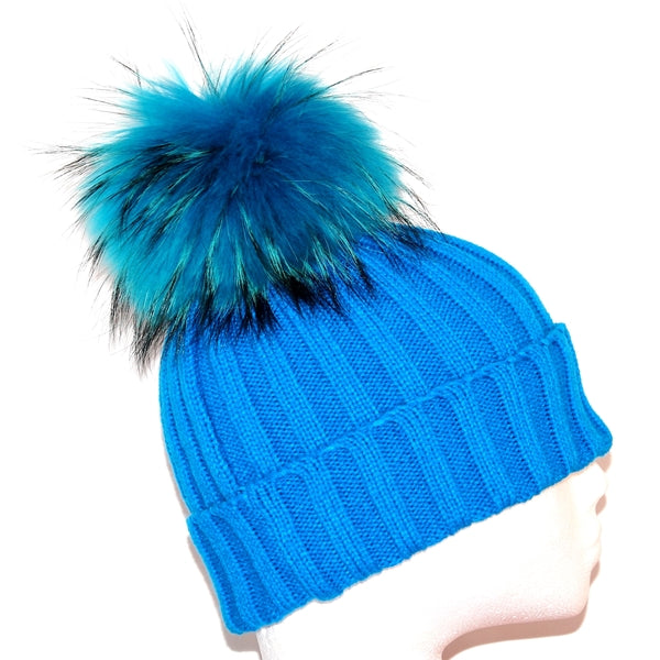 Aqua Raccoon Fur Bobble Hat - Matching Pom Pom - Poshpoms
