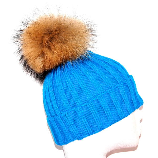 Aqua Raccoon Fur Bobble Hat - Poshpoms