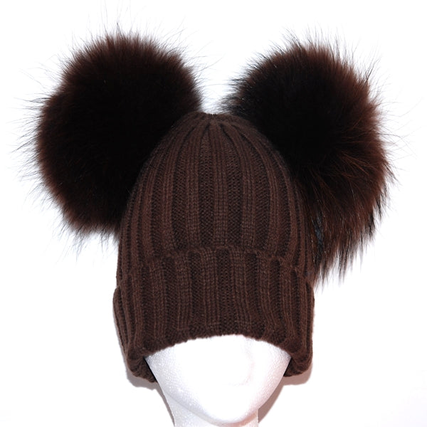 Brown Double Pom Raccoon Fur Bobble Hat - Matching Pom Pom - Poshpoms