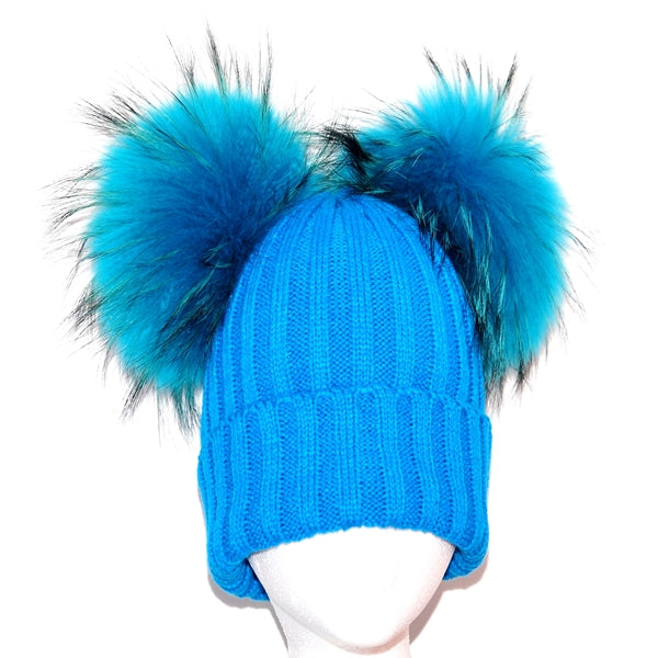 Aqua Double Pom Raccoon Fur Bobble Hat - Matching Pom Pom - Poshpoms