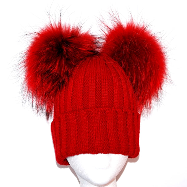 Red Double Pom Raccoon Fur Bobble Hat - Matching Pom Pom - Poshpoms