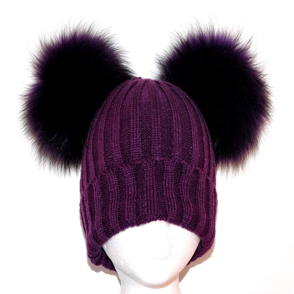 Purple Double Pom Raccoon Fur Bobble Hat - Matching Pom Pom - Poshpoms