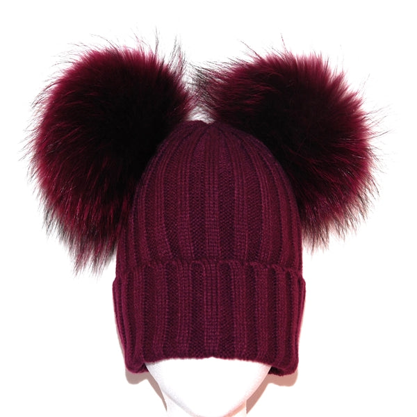 Plum Double Pom Raccoon Fur Bobble Hat - Matching Pom Pom - Poshpoms