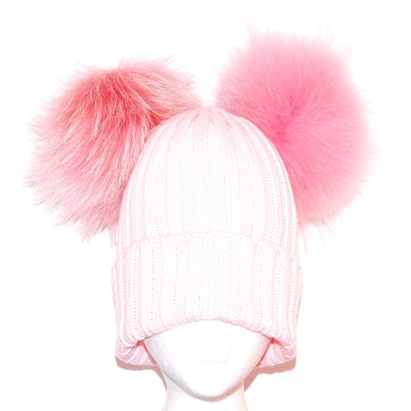 Baby Pink Double Pom Raccoon Fur Bobble Hat - Matching Pom Pom - Poshpoms