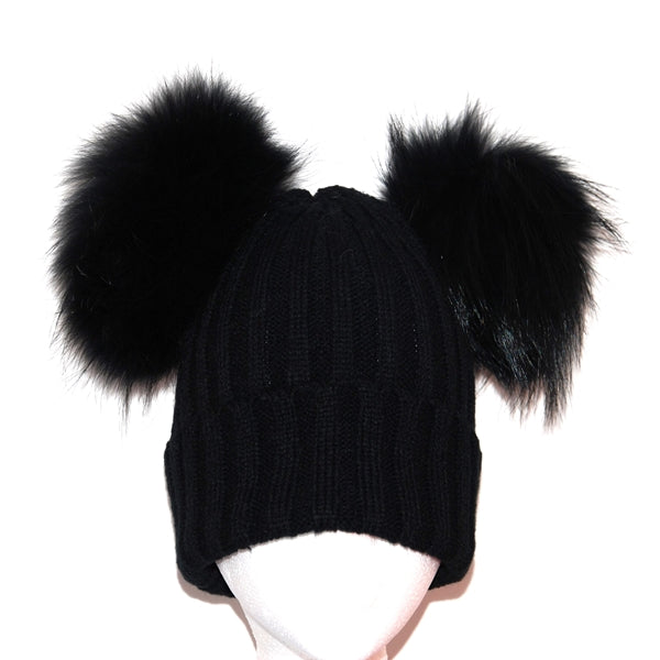 Black Double Pom Raccoon Fur Bobble Hat - Matching Pom Pom - Poshpoms