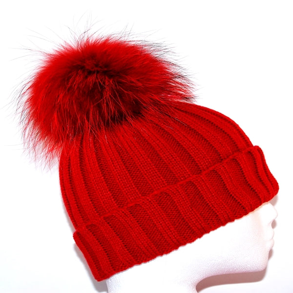 Red Raccoon Fur Bobble Hat - Matching Pom Pom - Poshpoms