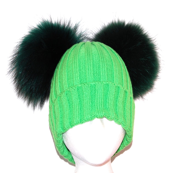 Green Double Pom Raccoon Fur Bobble Hat - Matching Pom Pom - Poshpoms