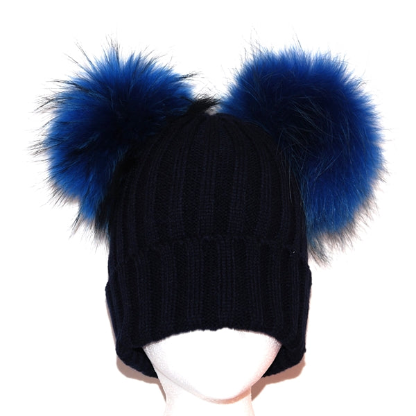 Navy Double Pom Raccoon Fur Bobble Hat - Matching Pom Pom - Poshpoms