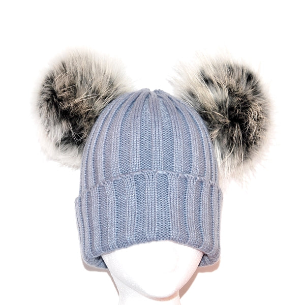 Light Grey Double Pom Raccoon Fur Bobble Hat - Matching Pom Pom - Poshpoms