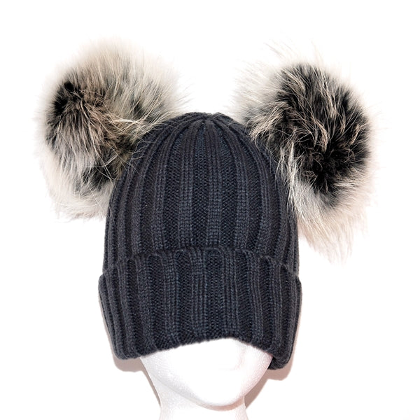 Dark Grey Double Pom Raccoon Fur Bobble Hat - Matching Pom Pom - Poshpoms
