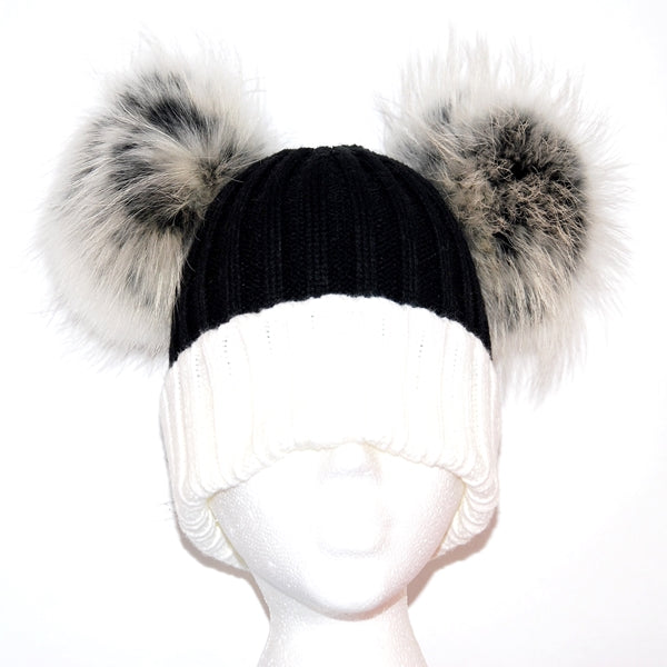 Cream&Black Double Pom Raccoon Fur Bobble Hat - Matching Pom Pom - Poshpoms