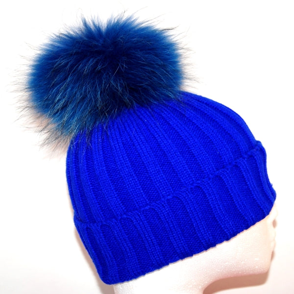 Electric Blue Raccoon Fur Bobble Hat - Matching Pom Pom - Poshpoms