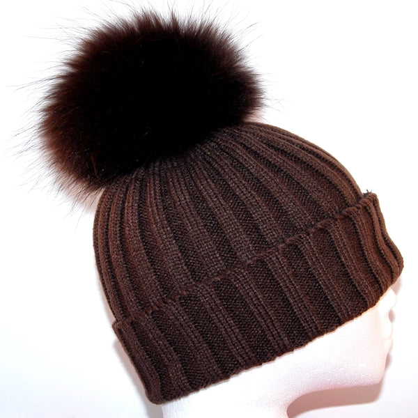 Brown Raccoon Fur Bobble Hat - Matching Pom Pom - Poshpoms