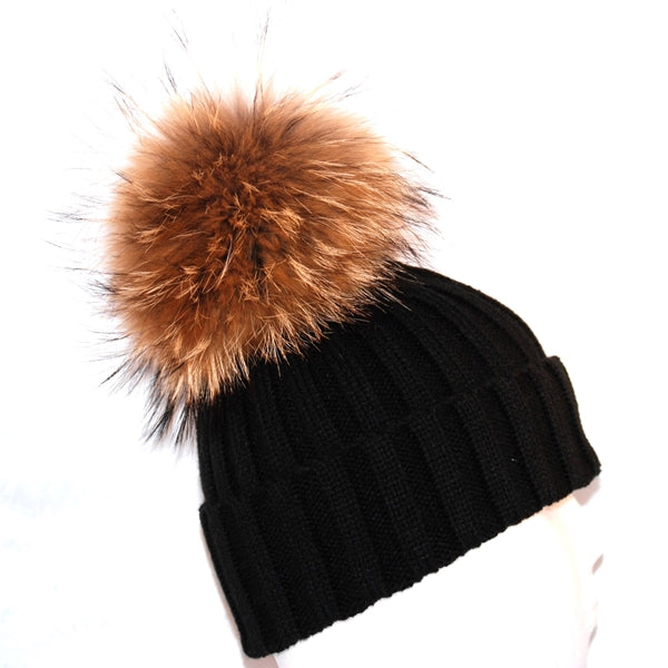 Black Raccoon Fur Bobble Hat - Poshpoms