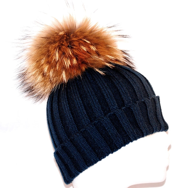 Navy Raccoon Fur Bobble Hat - Poshpoms