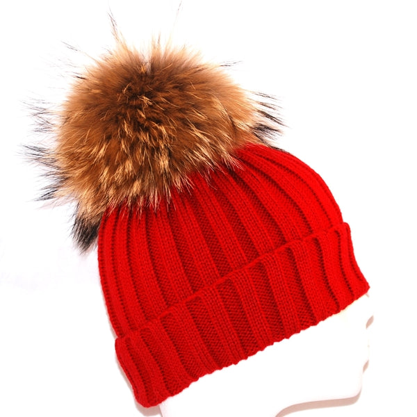 Red Raccoon Fur Bobble Hat - Poshpoms