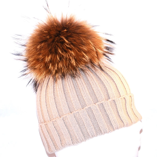 Beige Raccoon Fur Bobble Hat - Poshpoms