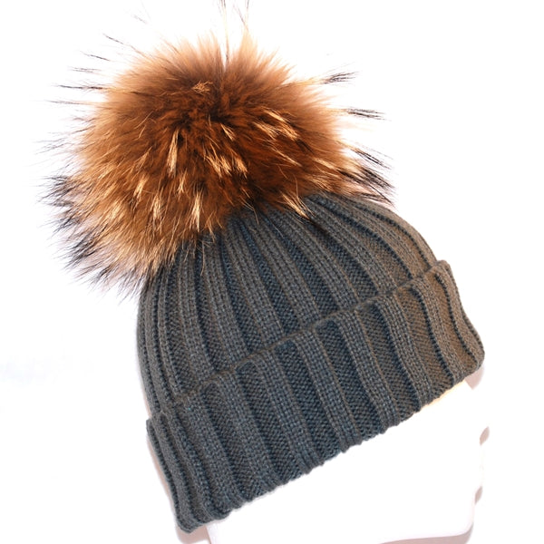 Dark Grey Raccoon Fur Bobble Hat - Poshpoms