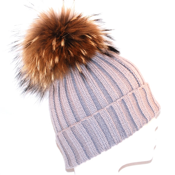 Light Grey Raccoon Fur Bobble Hat - Poshpoms