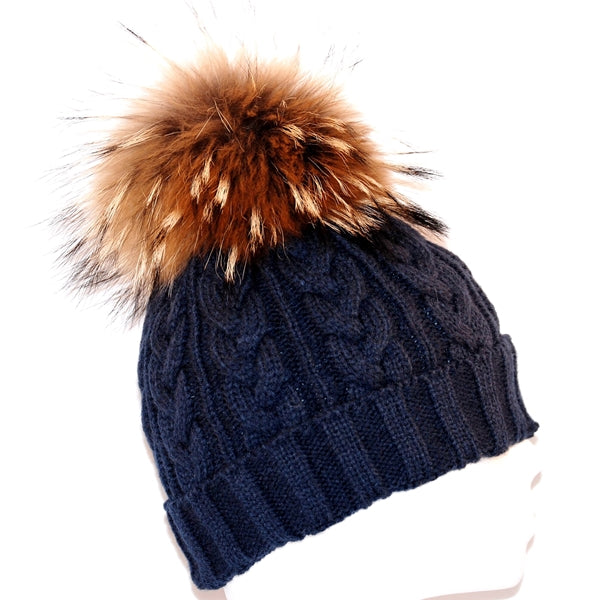 Navy Cross Knit Raccoon Fur Bobble Hat - Poshpoms