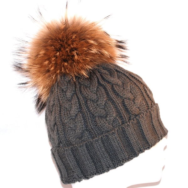 Dark Grey Cross Knit Raccoon Fur Bobble Hat - Poshpoms