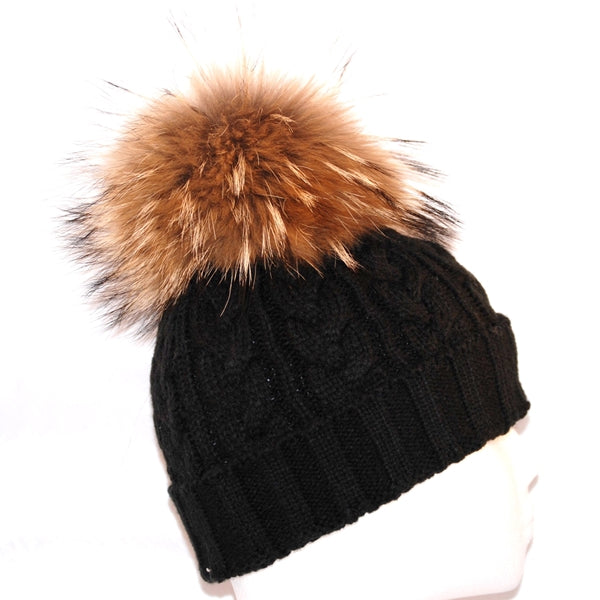 Black Cross Knit Raccoon Fur Bobble Hat - Poshpoms