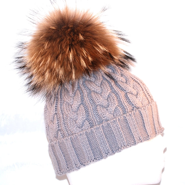 Light Grey Cross Knit Raccoon Fur Bobble Hat - Poshpoms