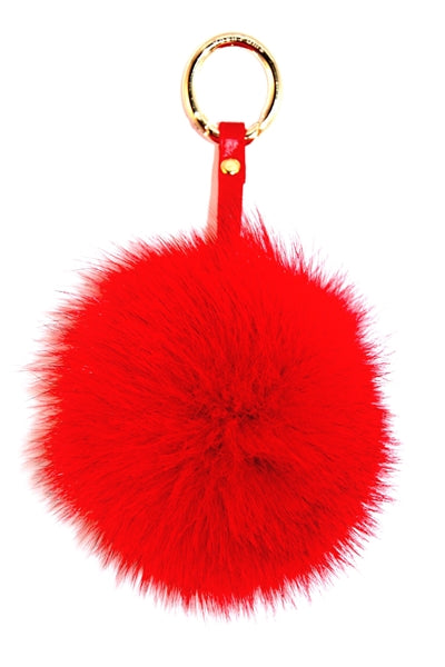 Red Fox Fur Pom Pom Keyring - Poshpoms