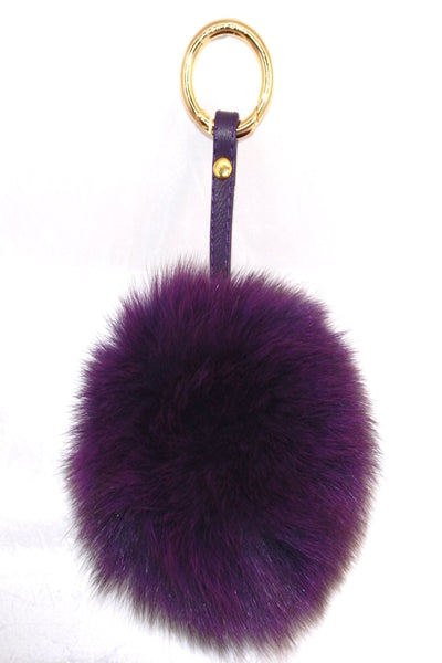Purple Fox Fur Pom Pom Keyring - Poshpoms