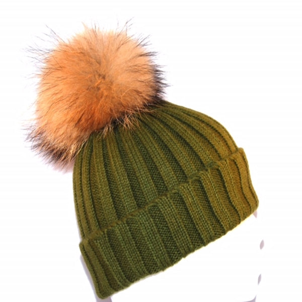 Khaki Raccoon Fur Bobble Hat - Poshpoms