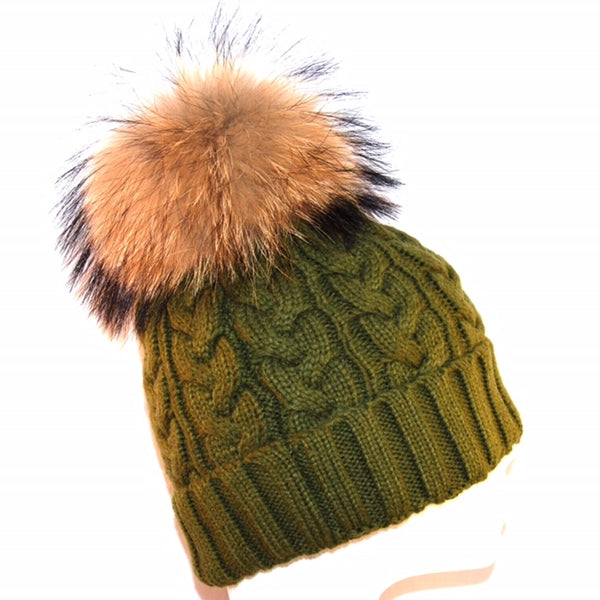 Khaki Cross Knit Raccoon Fur Bobble Hat - Poshpoms